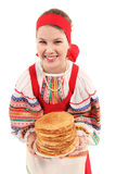 Girl with stack of pancakes Stock Photos