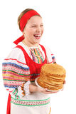 Girl with stack of pancakes Royalty Free Stock Images