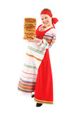 Girl with stack of pancakes Royalty Free Stock Photography