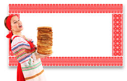 Girl with stack of pancakes Stock Photo