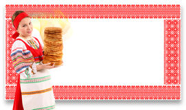 Girl with stack of pancakes Stock Photography