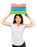 Girl with a stack of paper folders on her head Royalty Free Stock Images