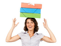 Girl with a stack of paper folders on her head Royalty Free Stock Photography