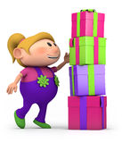 Girl stacking presents Royalty Free Stock Photos