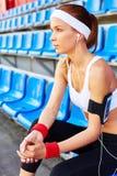 Girl at stadium Royalty Free Stock Photos