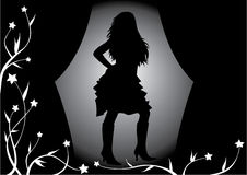 Girl on the stage,illustration Royalty Free Stock Photography