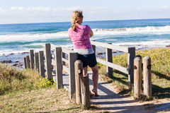 Girl Stairs Beach Waves Stock Images