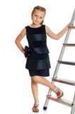 The girl at the stairs Royalty Free Stock Images