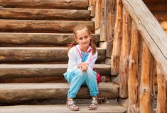 Girl on the stairs Stock Image