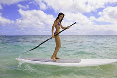 Girl on a stand up paddle board Royalty Free Stock Photos