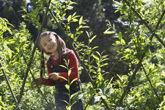 Girl Standing Amid Plants Royalty Free Stock Images