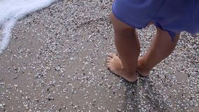 Girl standing on the beach stock video