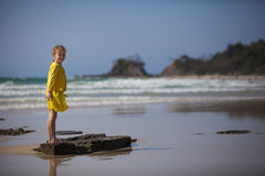 Girl Standing at the Beach Royalty Free Stock Photos