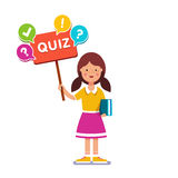 Girl standing with book, holding quiz placard Royalty Free Stock Image