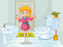 Girl standing in clean bathroom Royalty Free Stock Photos