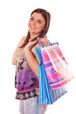 Girl standing with colorful shopping bags Stock Image
