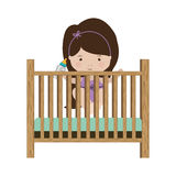 Girl standing in crib with baby bottle Stock Photography
