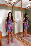 Girl standing in entrance. Royalty Free Stock Images