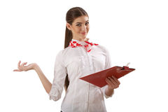 Girl standing with folder Stock Image