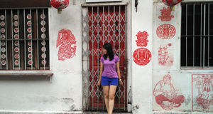 Girl standing in front of the art street Royalty Free Stock Image