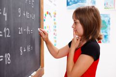 Girl standing in front of chalkboard and thinking Royalty Free Stock Photos