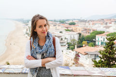 Girl standing in front of panoramic view in Sperlonga. Italy Royalty Free Stock Image