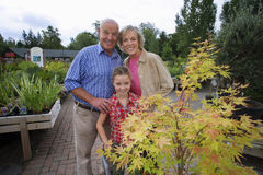 Girl (7-9) standing with grandparents behind plant on trolley in garden centre, smiling, portrait Royalty Free Stock Photo