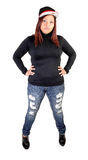 Girl standing in jeans. Royalty Free Stock Images