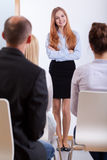 Girl standing on a job interview Stock Images