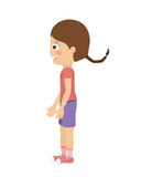 Girl standing looking aside  icon design. Vector illustration  graphic Stock Image