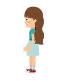 Girl standing looking aside  icon design. Vector illustration  graphic Royalty Free Stock Image