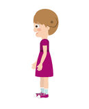 Girl standing looking aside  icon design. Vector illustration  graphic Royalty Free Stock Photo
