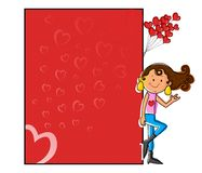 Girl standing with love blank board Royalty Free Stock Photos