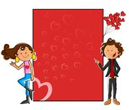 Girl standing with love blank board Royalty Free Stock Images