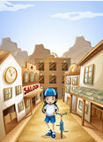 A girl standing in the middle of the saloon bars with her bike Stock Images