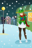 Girl standing in the middle of winter night Stock Images