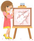 Girl standing near easel painter. Picture of cherry blossoms Stock Images