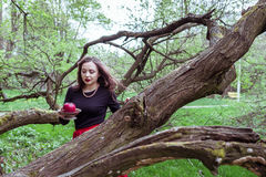Girl standing near a tree trunk. Girl in a red skirt standing near a tree trunk with apple in hand Stock Image