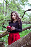 Girl standing near a tree trunk. Girl in a red skirt standing near a tree trunk with apple in hand Stock Photos