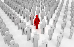 Girl standing out from the crowd of boys Royalty Free Stock Image