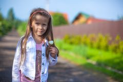 Girl standing outdoor and laughting Stock Photos
