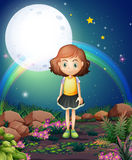 A girl standing outdoor under the bright fullmoon Stock Images
