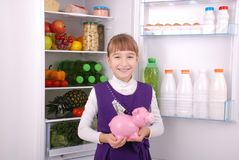 Girl standing with piggy bank money box on the refrigerator background. Young beautiful girl standing with piggy bank money box on the refrigerator background Stock Image