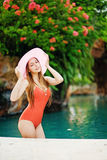 Girl standing in a pool Royalty Free Stock Images