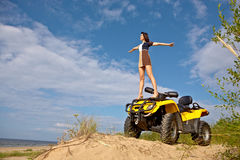Girl standing on the quad Royalty Free Stock Photography