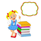 Girl standing rests on a stack of books Stock Photo