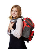 Girl standing with school bag isolated Stock Photo