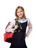 Girl standing with school bag isolated Royalty Free Stock Photography