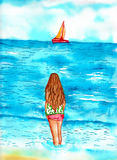 Girl Standing at shoreline watching sail boat. Watercolor of a teenage female standing at the shoreline in the water watching a sail boat Royalty Free Stock Photography