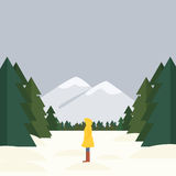 Girl is standing sideways on a background of a winter landscape, forest and mountains. Stock vector Stock Photo
